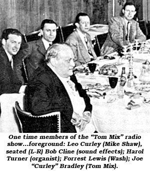 "Photo of one time members of the ""Tom Mix"" radio show...foreground: Leo Curley (Mike Shaw), seated (L-R) Bob Cline (sound effects); Harol Turner (organist); Forrest Lewis (Wash); Joe ""Curley"" Bradley (Tom Mix)."
