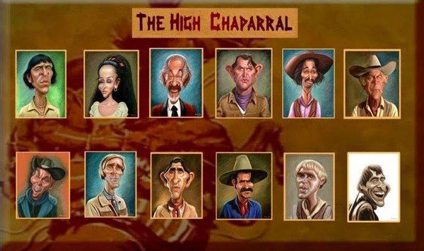 "Caricatures of the ""High Chaparral"" cast by noted artist Walter Fornero.(Thanx to Marianne Rittner-Holmes.)"