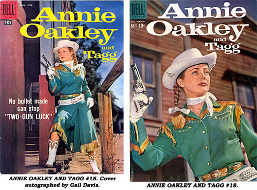 Cover to ANNIE OAKLEY AND TAGG #15 is autographed by Gail Davis. Cover to ANNIE OAKLEY AND TAGG #18.