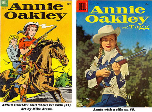 Cover to ANNIE OAKLEY AND TAGG FC#438 (#1). Art by Mike Arens. Cover to ANNIE OAKLEY AND TAGG #6 shows Annie with a rifle.