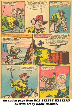 An action page from BOB STEELE WESTERN #2 with art by Eddie Robbins.