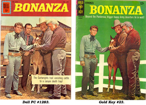 Covers to BONANZA Dell FC #1283 and Gold Key #23. Notice the same picture is used except on the Gold Key cover Pernell Roberts has been removed.