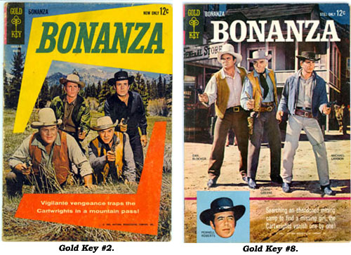 Covers to BONANZA Gold Key #2 and #8.
