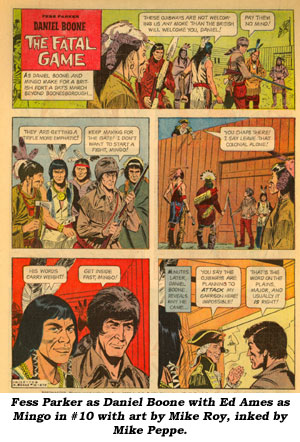 Fess Parker as Daniel Boone with Ed Ames as Mingo in #10 with art by Mike Roy, inked by Mike Peppe.