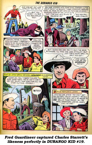 Fred Guardineer captured Charles Starrett's likeness perfectly in DURANGO KID #19.