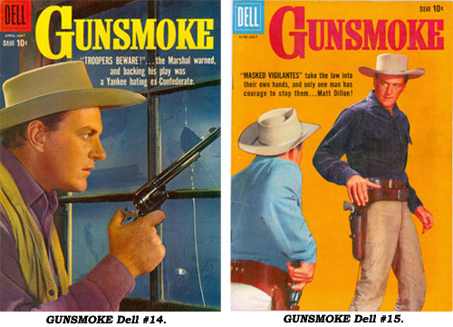 Covers to GUNSMOKE #14 and #15.