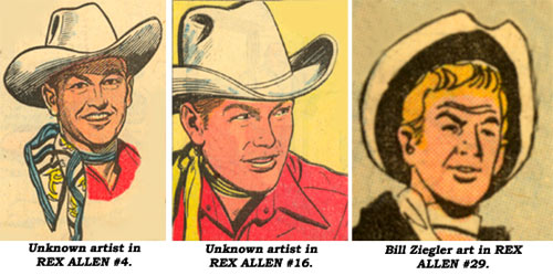 Rex Allen art in REX ALLEN #4 and #16 by unknown artists and in #29 by Bill Ziegler.