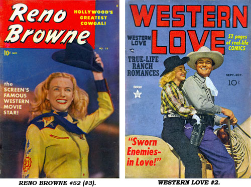 Covers to RENO BROWNE #52 (#3) and WESTERN LOVE #2.