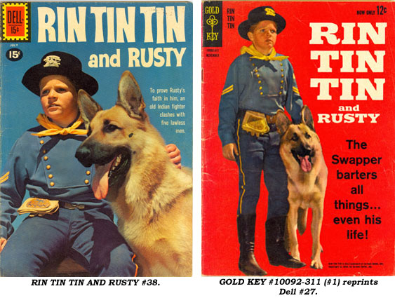 Covers to RIN TIN TIN AND RUSTY #38 and GOLD KEY #10092-311 (#1) reprints Dell #27.