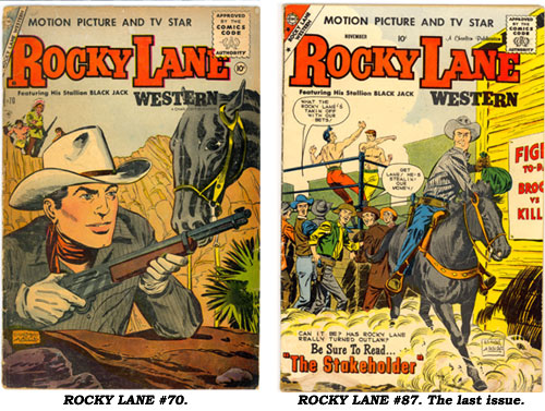 Covers to ROCKY LANE #70 and the final issue #87.
