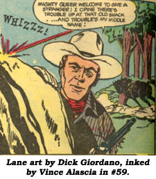 Lane art by Dick Giordano, inked by Vince Alascia in #59.