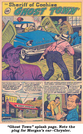 """Ghost Town"" splash page. Note the plug for Morgan's car--Chrysler."