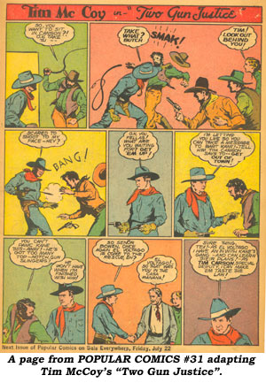 "A page from POPULAR COMICS #31 adapting Tim McCOY's ""Two Gun Justice""."
