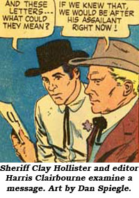 Sheriff Clay Hollister and editor Harris Clairbourne examine a message. Art by Dan Spiegle.
