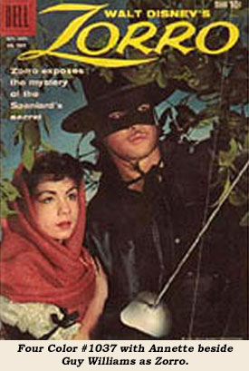 Four Color #1037 with Annette beside Guy Williams as Zorro.