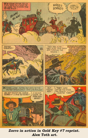 Zorro in action in Gold Key #7 reprint. Alex Toth art.