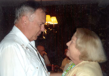 WESTERN CLIPPINGS' Boyd Magers with former Republic leading lady Claudia Barrett at the recent Memphis Film Festival (June '08).