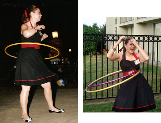 The festival's Bonnie Boyd demostrates the art of the Hula Hoop for the upcoming Hula Hoop contest participants.