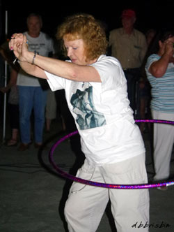 Darlene Tyler was one of three ladies who tied for 1st place in the pool party Hula Hoop contest. The others were Debbie Johnson and Fliss Bonello. Each won $10 and a year's subscription to WESTERN CLIPPINGS.