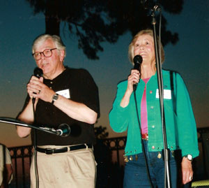 Roberta Shore and her husband Ron sang acapella at the pool party.