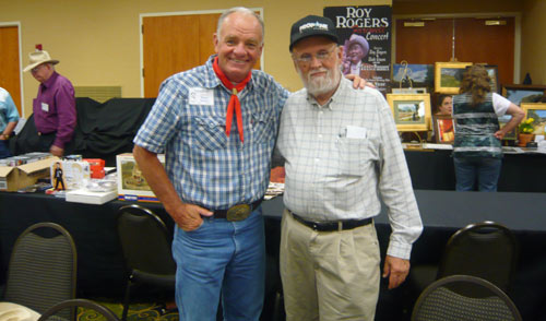 "Roger Mobley (""Fury"", ""Gallegher"") also sang at the pool party, but here he poses with festival helper Jimmie Covington."