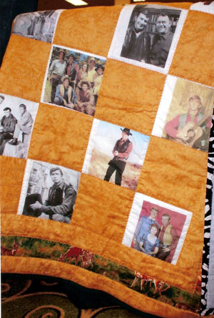 "Here, up close, you can see what a wonderful job Donna Wilmeth did in making these celebrity quits. This is the ""Virginian"" quilt which was auctioned off."