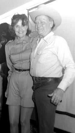 "Republic alumni Kay Aldridge (Nyoka) and Don ""Red"" Barry at a St. Louis Western Film Festival in 1979. (Courtesy Grady Franklin.)"