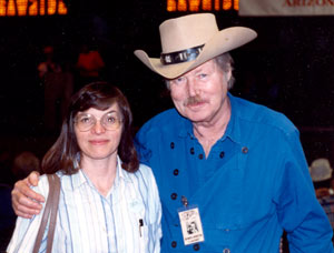 "WESTERN CLIPPINGS' Donna Magers with John Smith (""Laramie"") at the first Festival of the West in Scottsdale, AZ."