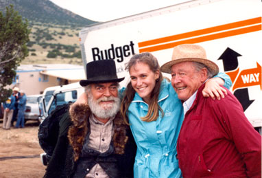 "Jack Elam visited on location near Santa Fe, NM, while filming ""Lucky Luke: Ghost Train"" ('95) by old pal Myron Healey and his daughter Mikel."