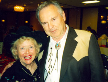 "WESTERN CLIPPINGS' Boyd Magers and Gloria Winters, Penny on ""Sky King"" at a Golden Boot Awards."