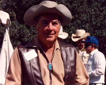 """Sheriff of Cochise""/""U.S. Marshal""John Bromfield at a Los Angeles event. In the background Clint Brown (blue hat) talks with stuntman Henry Wills."