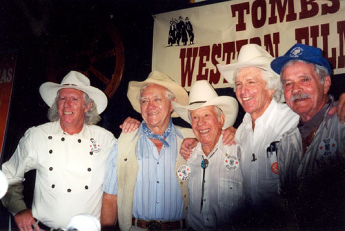 A great group of stuntmen gathered at a Tombstone Western Film Festival. (L-R) Neil Summers, Bobby Herron, Whitey Hughes, Dean Smith, Bobby Hoy.