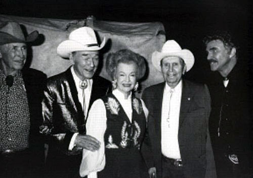 Golden Boot Awards 1990, (L-R) Eddie Dean, Roy Rogers, Dale Evans, Gene Autry, Burt Reynolds. (Thanx to Jerry Whittington.)