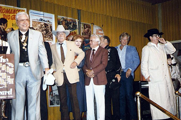Golden Boot Awards 1985, (L-R) Monte Hale, Richard Farnsworth, Amanda Blake, Joe Yrigoyen (?), unknown, Doug McClure, Bill Campbell. (Photo courtesy Jerry Whittington.)