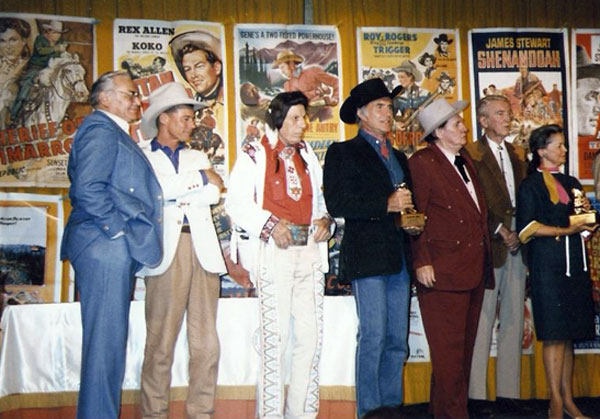Golden Boot Awards 1985, (L-R) Ernest Borgnine, Jan Michael Vincent, Iron Eyes Cody, Ricardo Montalban, Pat Buttram, Jimmy Stewart, Pam Murphy (Audie's widow). (Photo courtesy Jerry Whittington.)