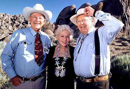 Grace Bradley Boyd with two former Hopalong Cassidy sidekicks, Jimmy Rogers and Rand Brooks. Taken at Lone Pine, CA.