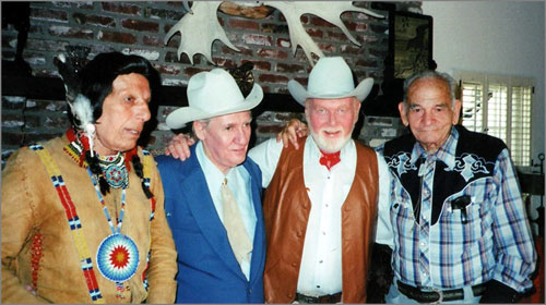 Four Western Greats reunite in the '80s. (L-R) Iron Eyes Cody, Pat Buttram, Harry Carey Jr., Yakima Canutt. (Thanx to Leonard Maltin.)