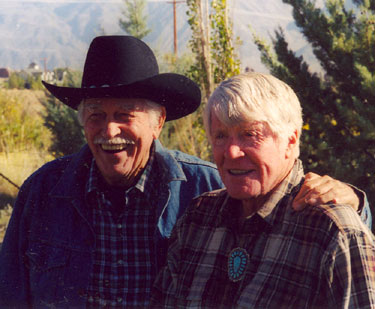 Howard Keel and Robert Horton at the Pheasant Club during the Lone Pine, CA, 2003 Film Festival.