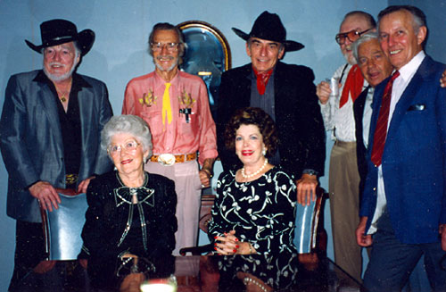"A great group at the Memphis, TN, Film Festival in 1992. (L-R) Lash LaRue, Lucille Lund, John Pickard, Jane Adams, James Drury, Gene Evans, Frankie Thomas, Jan Merlin. This was ""The Virginian's"" first film festival."