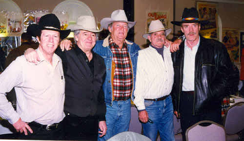 "A ""High Chaparral"" reunion at a 1997 Ray Courts Collector's Show in California. (L-R) Neil Summers, Henry Darrow, Don Collier, Bobby Hoy, Ted Markland."