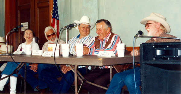 Celebrity panel discussion at the Toulumne County, Sonora, California, Wild West Film Fest in 1992 with (l-r) Lois Hall, John Hart, Ben Johnson, Jan Merlin, Harry Carey Jr.