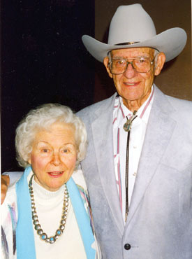 "Singers Wesley and Marilyn Tuttle at a Western Music Association gathering in Tucson, Arizona, in 1997. Wes appeared in several westerns with Johnny Mack Brown, Jimmy Wakely and others. The couple worked together on TV's ""Ranch Party"" with Tex Ritter."