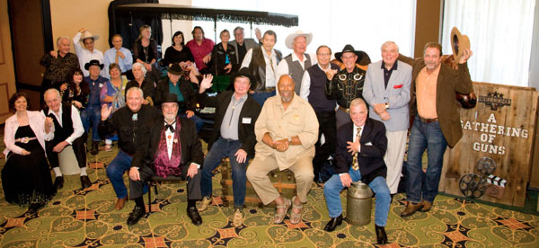 "The stars of ""A Gathering of Guns 4"" at the Memphis Film Festival. (Top row l-r): Gary Clarke (""The Virginian"", ""Hondo""), Bobby Crawford (""Laramie""), Johnny Crawford (""The Rifleman""), Veronica Cartwright (""Daniel Boone""), Diane Roter (""The Virginian""), Jeff Connors (son of Chuck Connors), Roberta Shore (""The Virginian"") and husband Ron Frederickson, Clint Walker (""Cheyenne""), Rex Allen Jr., Charles Briles (""The Big Valley""), Don Quine (""The Virginian""), Ed Faulkner (character player/heavy in dozens of movies/TV shows), Darby Hinton (""Daniel Boone""). (Middle row l-r): author Holly George-Warren, Johnny Western (""Have Gun Will Travel""), Sara Lane (""The Virginian""), L. Q. Jones (""The Virginian"", ""Cheyenne"" and heavy in hundreds of shows), James Drury (""The Virginian""). (Front row l-r): Maxine Hansen (Autry Entertainment), Henry Darrow (""High Chaparral""), John Buttram (Pat Buttram's nephew), Hugh O'Brian (""Wyatt Earp""), Randy Boone (""The Virginian"", ""Cimarron Strip""), Don Pedro Colley (""Daniel Boone""), Bobby Clark (""Casey Jones"")."
