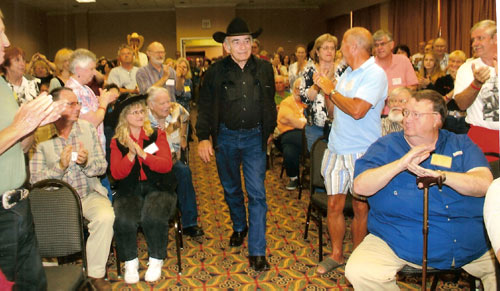 """The Virginian"", James Drury, proudly enters the panel discussion room to resounding applause."
