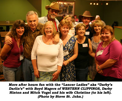 "More after hours fun with the ""Lancer Ladies"" aka ""Darby's Darlin's"" with Boyd Magers of WESTERN CLIPPINGS, Darby Hinton and Mitch Vogel and his wife Christine (to his left). (Photo by Steve St. John.)"