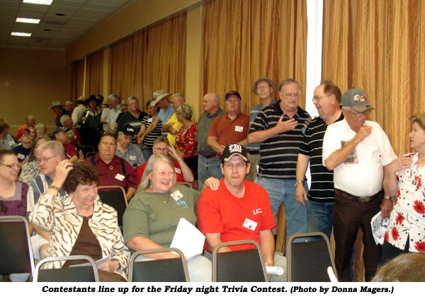 Contestants line up for the Friday night Trivia Contest.  (Photo by Donna Magers.)