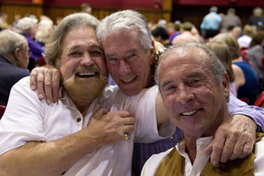 Havin' fun at the Saturday night banquet! Dan Haggerty, Bob Fuller and Don Shanks.