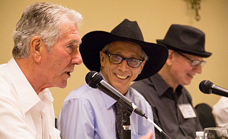"Johnny Crawford (center) and Tommy Nolan smile as Robert Fuller relates an experience from ""Laramie""."