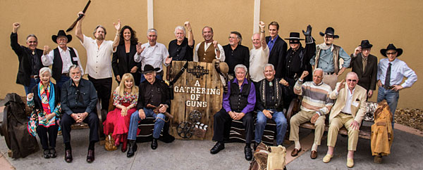 "The stars of ""A Gathering of Guns 5"" at the Memphis Film Festival. (Top row L-R) Rudy Ramos (""High Chaparral""), Alex Cord (veteran of many westerns), Dan Haggerty (""Grizzly Adams""), Dawn Moore (Clayton Moore's daughter), Robert Fuller (""Laramie"", Wagon Train""), Don Collier (""Outlaws"", ""High Chaparral""), Don Shanks (""Grizzly Adams""), Tim Considine, David Stollery (""Spin and Marty""), Duncan Regehr (""Zorro""), Guy Williams Jr. (son of Disney's ""Zorro""), John Wayne cutout, Tommy Nolan (""Buckskin""), Johnny Crawford (""Rifleman""). (Seated L-R) Lisa Lu (""Have Gun Will Travel""), Gregg Palmer (veteran screen heavy), Terry Moore (""Empire""), James Drury (""The Virginian""), James Best (""Dukes of Hazzard""), John Buttram (Pat Buttram's nephew), Robert Loggia (""Elfego Baca""), costumer Luster Bayless."