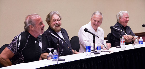 "Boyd Magers (white shirt) moderated one of the six celebrity panels, seen here with Don Shanks and Dan Haggerty (""Grizzly Adams"") and James Best."
